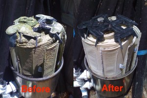 DE filter before and after